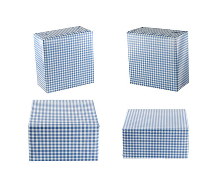 objects with clipping paths: Blue gift box set isolated on white background and have clipping paths.