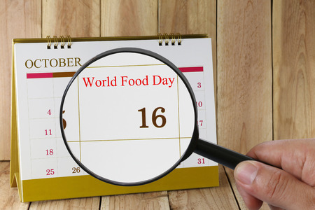 founding: Calendar you can look World Food Day on 16 October,concept of a public relations campaign On the eve of the founding of the UN Food and Agriculture Organization in 1945. Stock Photo
