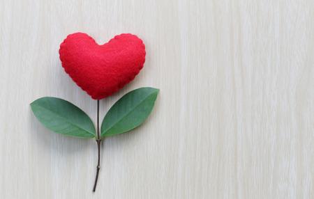 Corazón Rojo Colocado Sobre Una Mesa De Madera En Conexión Con Ramas ...