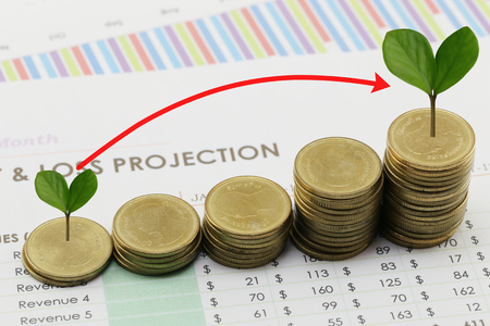 silver coin stack and arrow line and have treetop in business growth concept on paper of report assessed income. Stock Photo