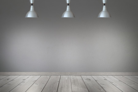 ceiling light: Ceiling light in the room and light shining to wall and floor with gray cement wall background.