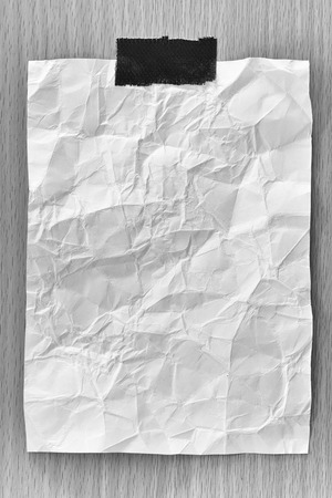 Note paper crumpled of empty and copy space on wooden background,You can input the message text in picture.