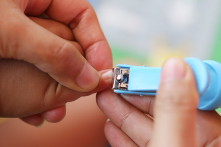 clipper: Blue Nail clipper,fingernails cut of a baby by mother. Stock Photo