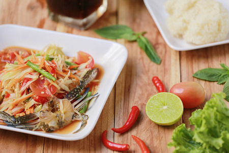 slatternly: SOM TUM,Thai foods or papaya salad in spicy taste and is popular in thailand on wooden table background.