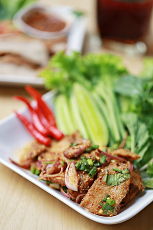 tang: Spicy Grilled Pork Salad of thai foods this food of popular in Northeast Thailand.
