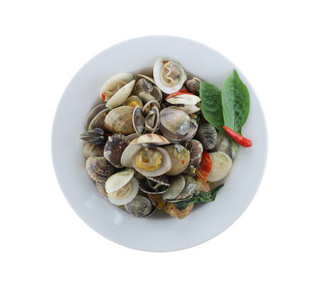 ridged: sea clams or RIDGED VENUS CLAM of Stir sauce in white dish isolated on white background