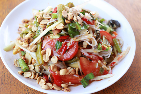 Mix bean of Papaya salad or SOMTUM in Thai Foods,The food has been popular in Thailand.