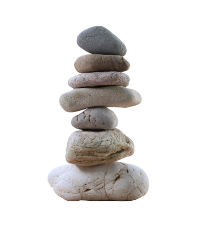 Balance Stones stacked to pyramid isolated on white background and have clipping paths to easy deployment. Reklamní fotografie - 77082793
