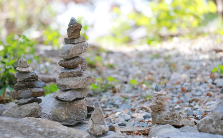 stones stacked of pyramid shaped in concept of calm and meditation. Stock Photo