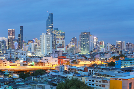 View of Bangkok at twilight time in cityscape,capital of Thailand and the center of ASEAN. Stock Photo