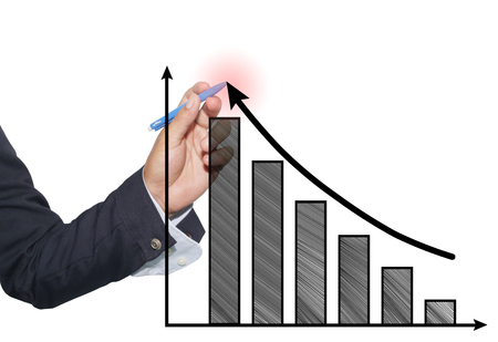 hand of businessman use blue pen point to top graph and black arrow in concept of profit and investment in business.