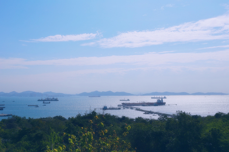 delivery truck: Cargo ship floating in the sea of sriracha city,location in chonburi province,Thailand.