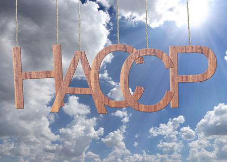 Wooden HACCP text Stands for Hazard Analysis and Critical Control Point hanging on a rope and blue sky background. Stock Photo