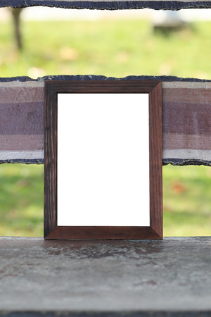 Wooden Empty Of Picture Frame Placed On The Bench In The Park ...