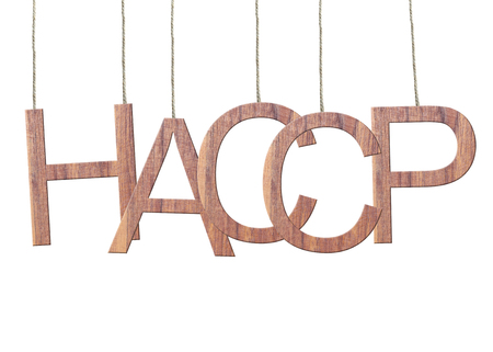 Wooden HACCP text of Hazard Analysis and Critical Control Point hanging on the ropes isolated on white background.