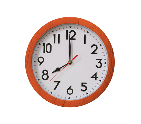 clock of pattern brown wood in eight oclock isolated on white background and have clipping paths with create from pen tool function.