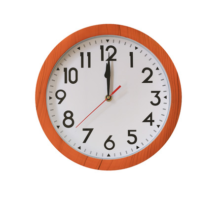 clock of pattern brown wood in Twelve o'clock isolated on white background and have clipping paths with create from pen tool function.