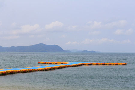 Plastic Floating port on sea,harbor at convenience in the time of low water tide.