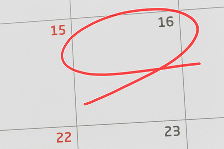 Focus on number 16 in calendar and empty red ellipse for design in your ideas and work concept. Stok Fotoğraf
