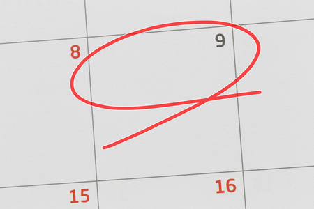 Focus on number 9 in calendar and empty red ellipse for design in your ideas and work concept. Stok Fotoğraf