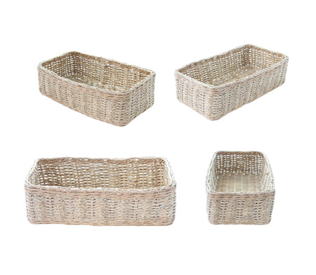 Wicker baskets of Square set isolated on white background. 写真素材