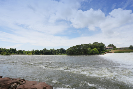Dike of overflow water in day time,Nong Wai dam in Nam Phong District of Khon Kaen province,Thailand.