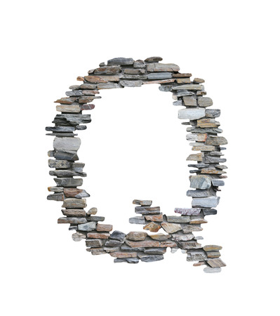 Font of Q to create from stone wall isolated on white background with clipping paths.