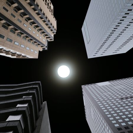 High building under view at night and have full moon on dark sky.