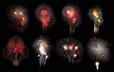Variety of colors Mix Fireworks or firecracker Collections in the darkness background. Stock fotó - 130109596