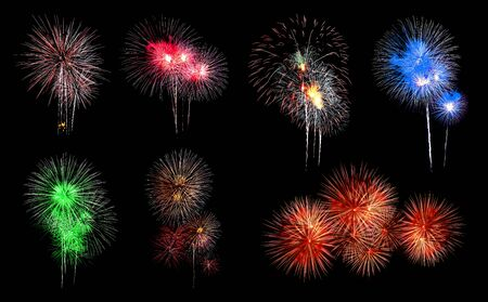 Variety of colors Mix Fireworks or firecracker Collections in the darkness background. Stock fotó - 130109711