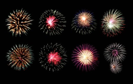 Variety of colors Mix Fireworks or firecracker Collections in the darkness background. Stock fotó - 130109712