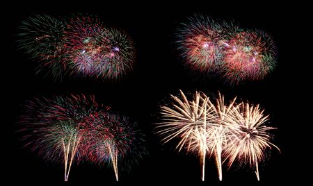 Variety of colors Mix Fireworks or firecracker Collections in the darkness background. Stock fotó - 130109713