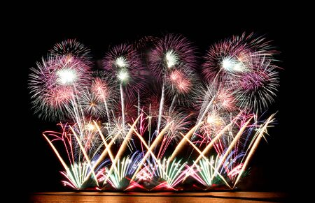 Variety of colors Mix Fireworks or firecracker in the darkness background. Stock fotó - 130109722