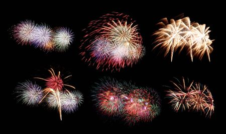 Variety of colors Mix Fireworks or firecracker Collections in the darkness background. Stock fotó - 130110276