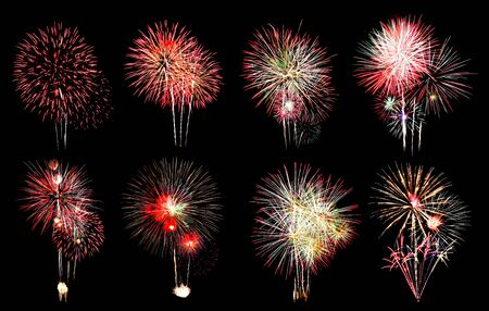 Variety of colors Mix Fireworks or firecracker Collections in the darkness background.