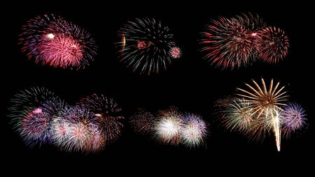 Variety of colors Mix Fireworks or firecracker Collections in the darkness background. Stock fotó - 130110734