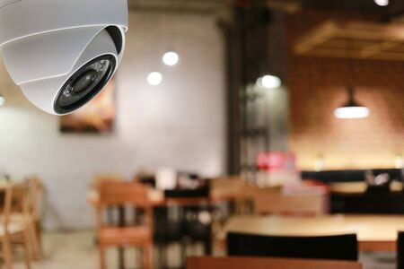 CCTV tool in coffee cafe Equipment for security systems and have copy space for design.