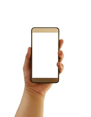 Hand of man hold a blank smartphone isolated on white background and have clipping paths for convenient and quick use. Stock fotó