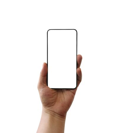 Hand of man hold a blank smartphone isolated on white background and have clipping paths for easy to use.