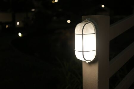 Light from the lamp at night and have copy space for design in your work concept.