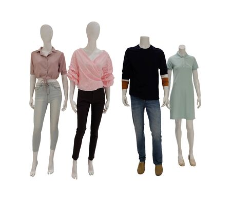 Fashion clothes mannequins isolated on white background and have clipping paths for easy design in your concept. Reklamní fotografie