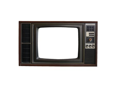 Old vintage televisions isolated on white background for easy design in your concept.