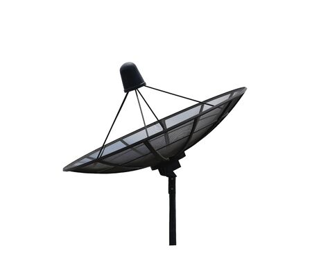 Black Satellite dish isolated on white background and have clipping paths for convenient and quick use.