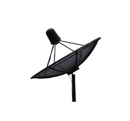Black Satellite dish isolated on white background