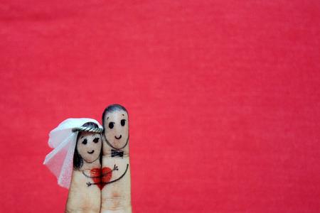 指の結婚式 写真素材