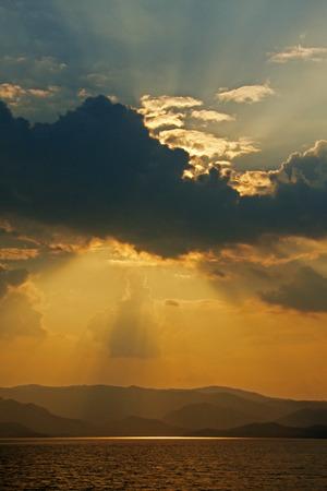 golden light: Golden Light on Sky Stock Photo
