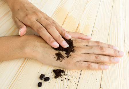 rubdown: coffee hand scrub with ground coffee dry  , mean to beauty or cosmetic