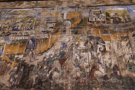 wood paneling: Drawing on ancient wood paneling, Ancient painting on wall wooden