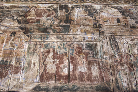 paneling: Drawing on ancient wood paneling, Ancient painting on wall wooden