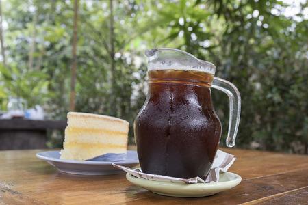 iced coffee: Iced coffee with cake